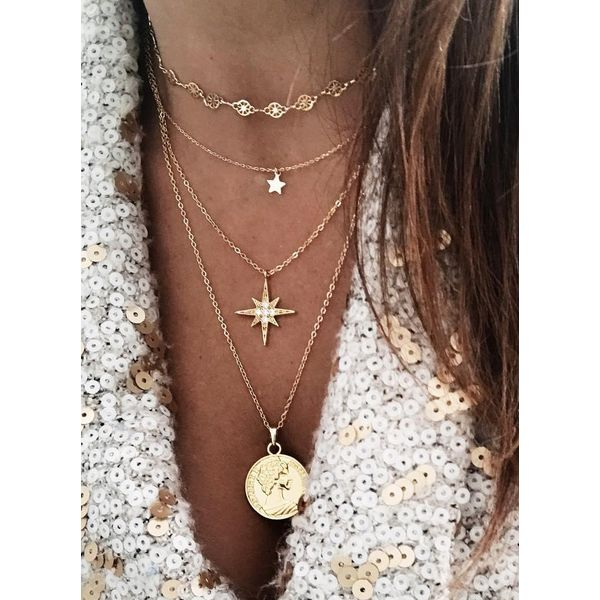 Casual Star Round No Stone Pendant Necklaces (1845565869)