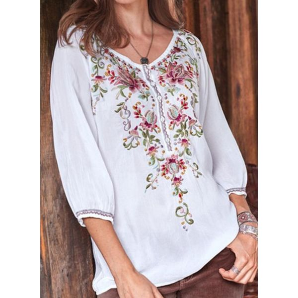 Floral Casual Round Neckline 3/4 Sleeves Blouses (1645572253)