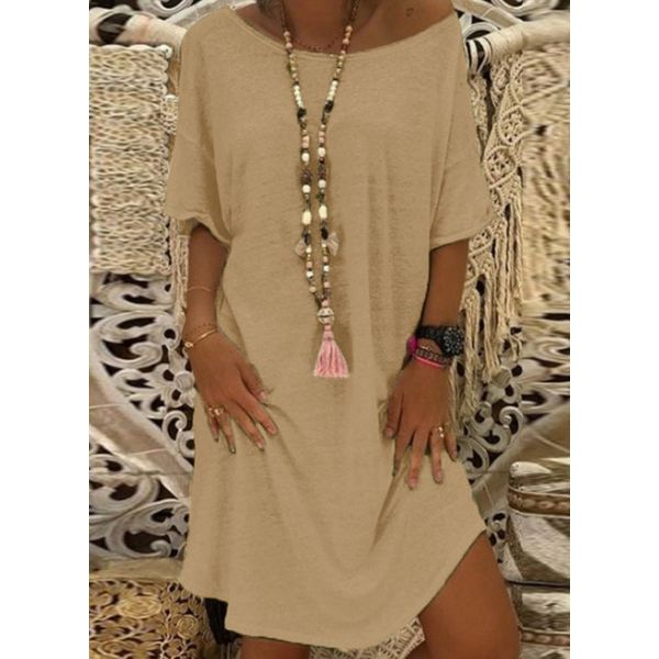 Plus Size Casual Solid Tunic Round Neckline A-line Dress (30345574235)