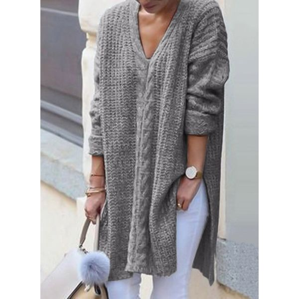 V-Neckline Solid Loose Long Sweaters (1675358752) 12