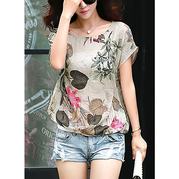 Polyester Floral Round Neck Short Sleeve Casual T-shirts (1685137955) 2