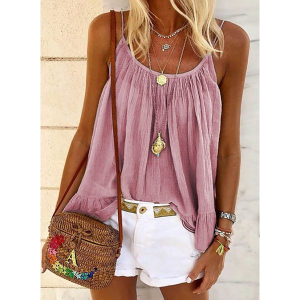 Solid Camisole Neckline Casual Shift Blouses Sleeveless Plus Blouses (30355579780)