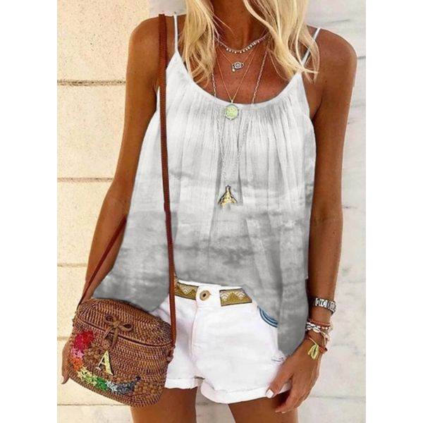Color Block Casual Camisole Neckline Sleeveless Blouses (1645591189)