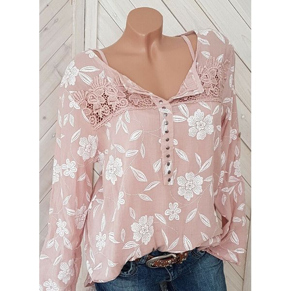 Floral Casual V-Neckline Long Sleeve Blouses (1645415813, Black;blue;gray;pink;red;yellow
