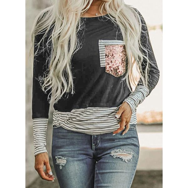 Stripe Round Neck Long Sleeve Casual T-shirts (1685554392)