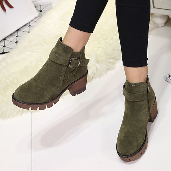 Buckle Ankle Boots Chunky Heel Shoes (1625314885) 4