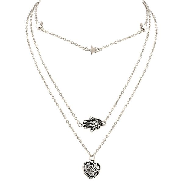 Heart No Stone Pendant Necklaces (1845417352, Silver
