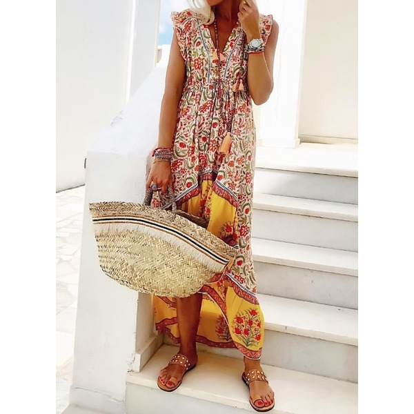 Floral Peasant Cap Sleeve High Low Shift Dress (1955280711) 10