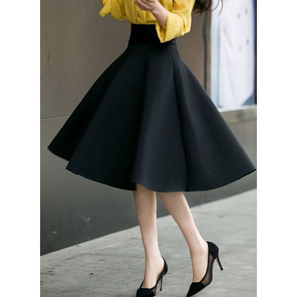 Solid Knee-Length Vintage Skirts (1725381521) 2
