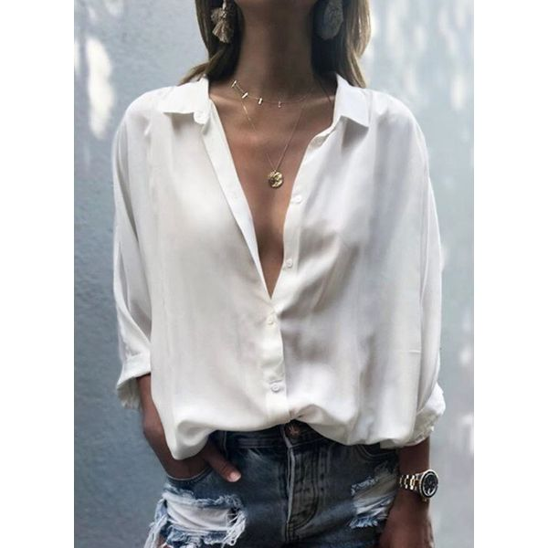 Solid Casual Collar Long Sleeve Blouses (1645568294)