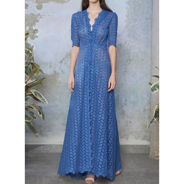 Solid V-Neckline Half Sleeve Maxi X-line Dress (1955403174, Blue