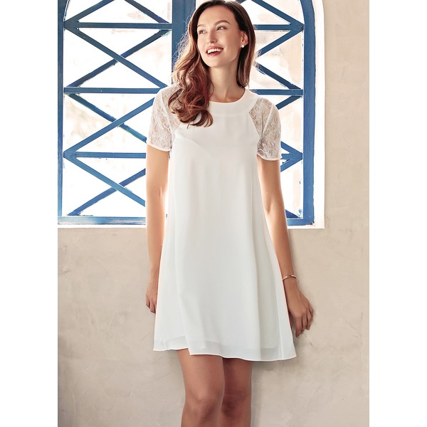 Solid Hollow Out Short Sleeve Above Knee A-line Dress (1955148111) 10