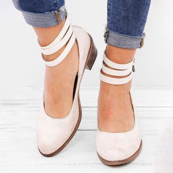 Ankle Strap Closed Toe Low Heel Shoes (1625382120) 4