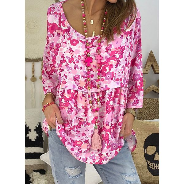 Floral Boat Neckline Casual Shift Blouses 3/4 Sleeves Plus Blouses (30355596515)