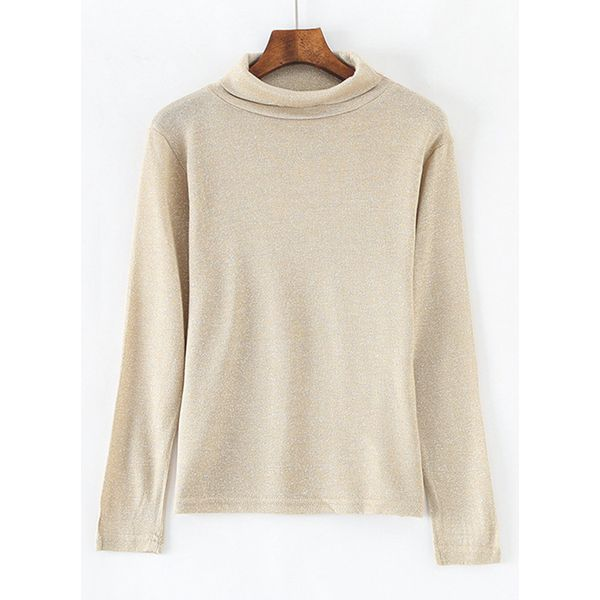 High Neckline Solid Loose Regular Shift Sweaters (1675377438) 9