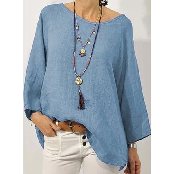 Plus Size Solid Casual Round Neckline Long Sleeve Blouses (1645407197, Black;blue;gray;green;rose