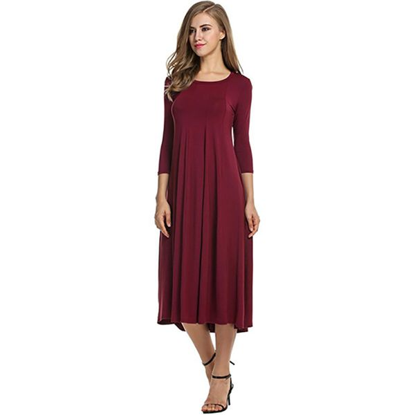 Solid Long Sleeve Midi Shift Dress (1955335316) 1