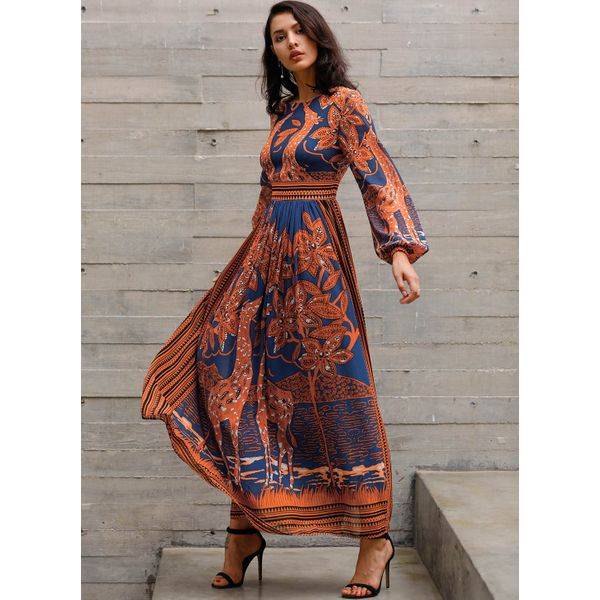 Floral Long Sleeve Maxi X-line Dress (1955184513) 10