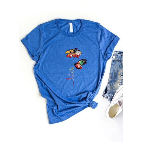 Floral Round Neck Short Sleeve Casual T-shirts (1685596922)