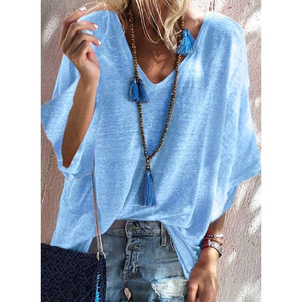 Solid Casual V-Neckline 3/4 Sleeves Blouses (1645586780)