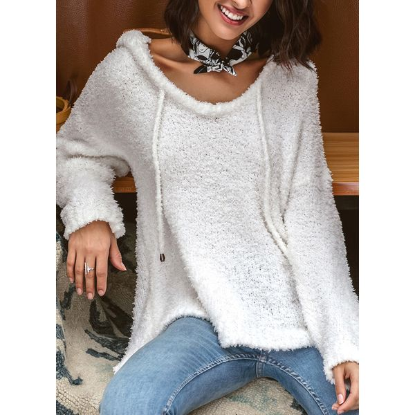 V-Neckline Solid Loose None Shift Sweaters (01675344086) 8