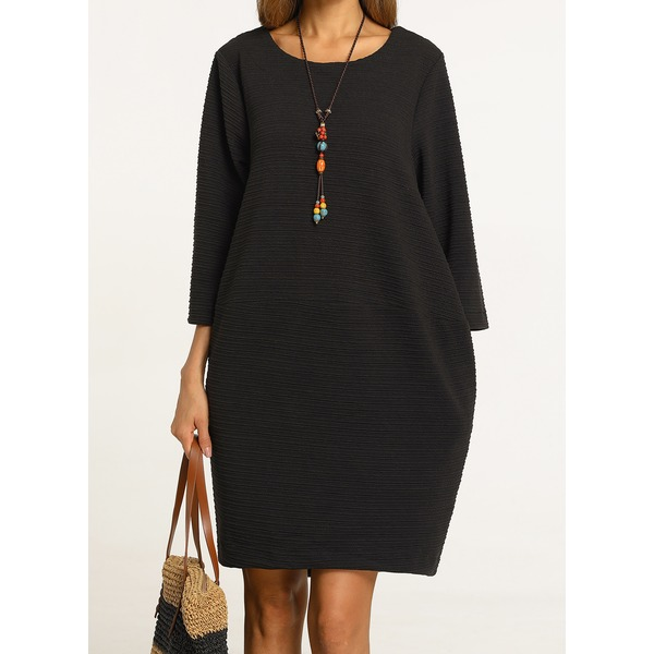 Solid 3/4 Sleeves Knee-Length Shift Dress (01955232234) 5