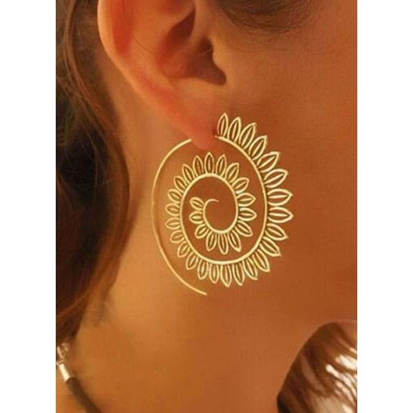 Casual Floral No Stone Dangle Earrings (1855584475)
