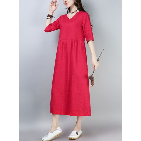 Solid Half Sleeve Maxi Shift Dress (1955391257, Blue;red