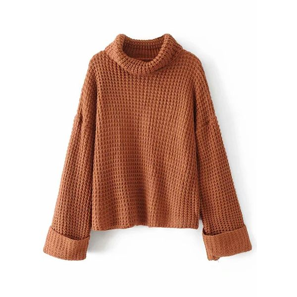 High Neckline Solid Loose Regular Shift Sweaters (1675380151) 1
