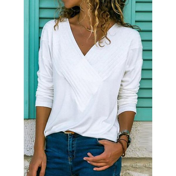 Solid Casual V-Neckline Long Sleeve Blouses (1645379086) 11