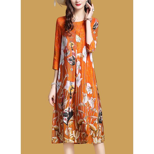 Floral 3/4 Sleeves Midi Shift Dress (1955376772) 2