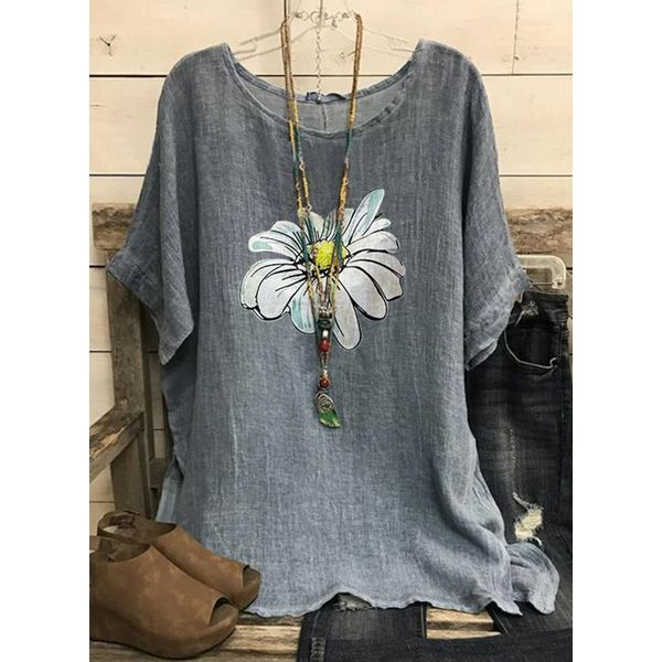 Floral Casual Round Neckline Short Sleeve Blouses (1645584334)