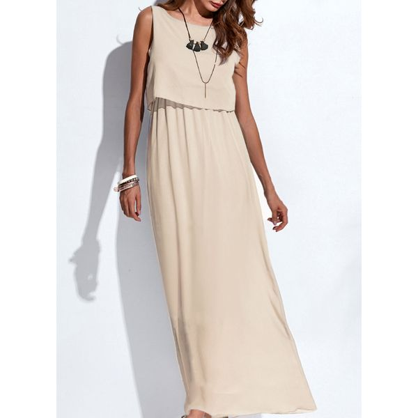 Solid Sleeveless Maxi A-line Dress (1955131456) 3