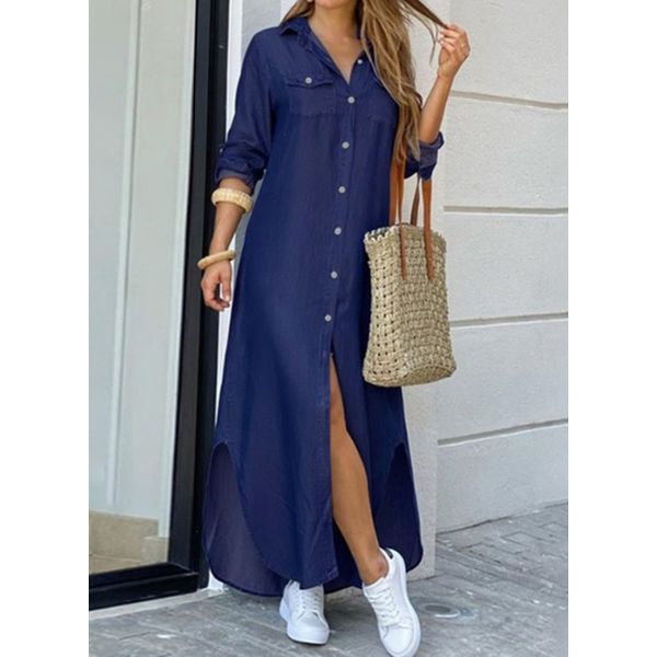 Casual Solid Tunic Collar A-line Dress (1955581010)
