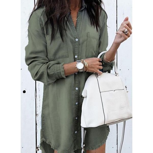 Solid Casual Collar Long Sleeve Blouses (1645376477) 10