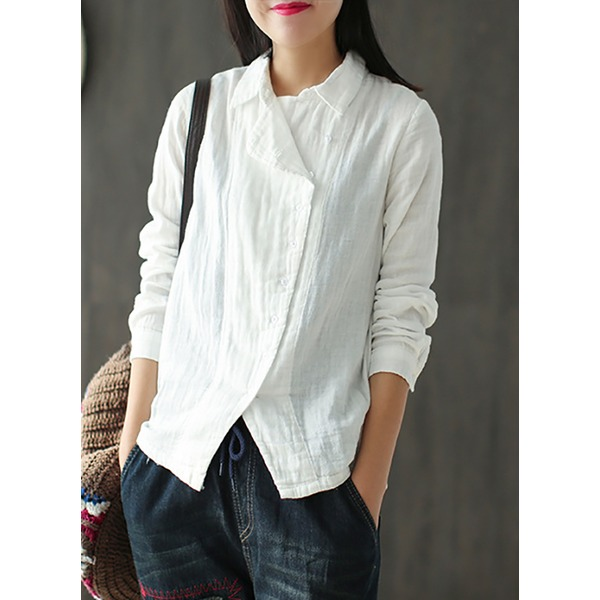 Solid Casual Collar Long Sleeve Blouses (1645253885) 1
