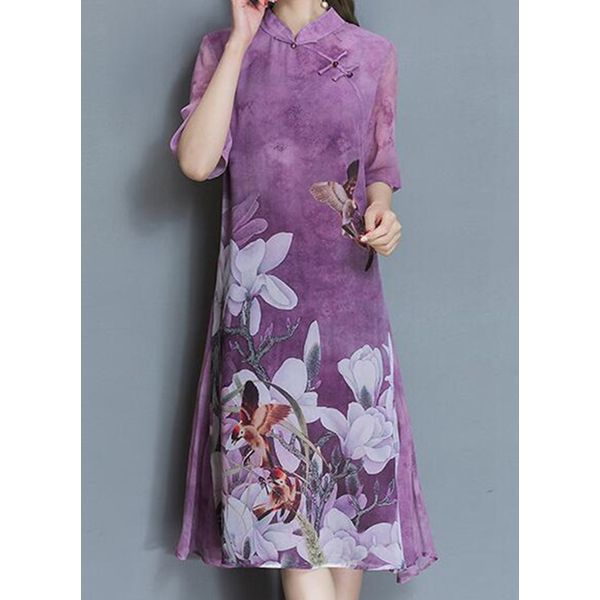 Chinese Style Floral Buttons Tunic Shift Dress (1955511356)