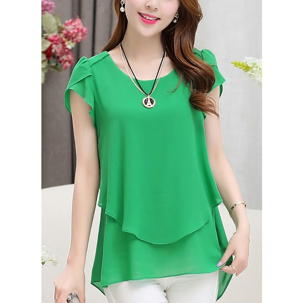 Polyester Solid Round Neck Cap Sleeve T-shirts (1685267540) 6