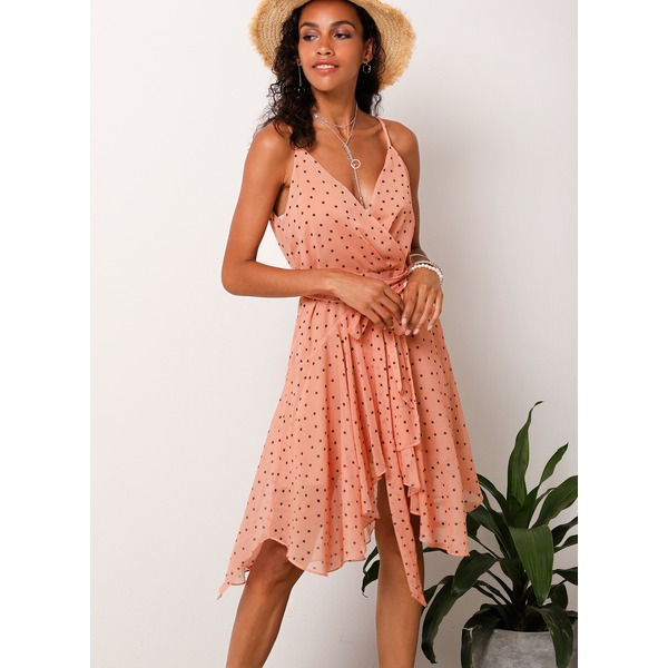 Polka Dot Sleeveless Knee-Length X-line Dress (1955181735) 9