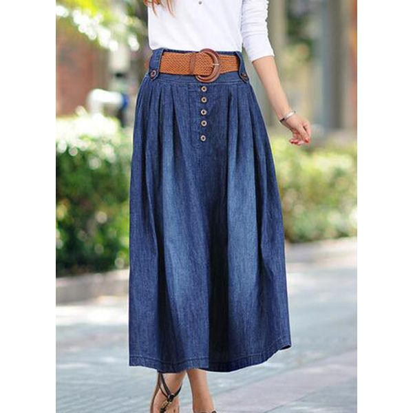 Solid Mid-Calf Casual Buttons Sashes Skirts (1725556636)