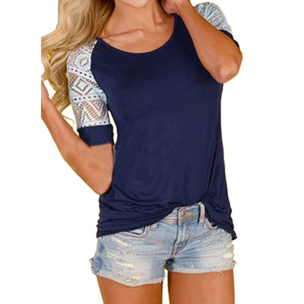 Color Block Round Neck Short Sleeve Casual T-shirts (1685381666) 4