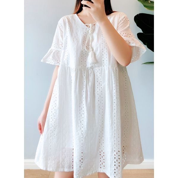 Plus Size Solid Hollow Out V-Neckline Above Knee A-line Dress (1955422670, White