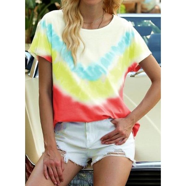 Color Block Casual Round Neckline Short Sleeve Blouses (1645595420)