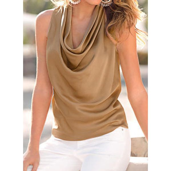 Solid Casual Draped Neckline Sleeveless Blouses (1645582897)