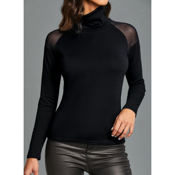 Solid Sexy High Neckline Long Sleeve Blouses (1645509205)