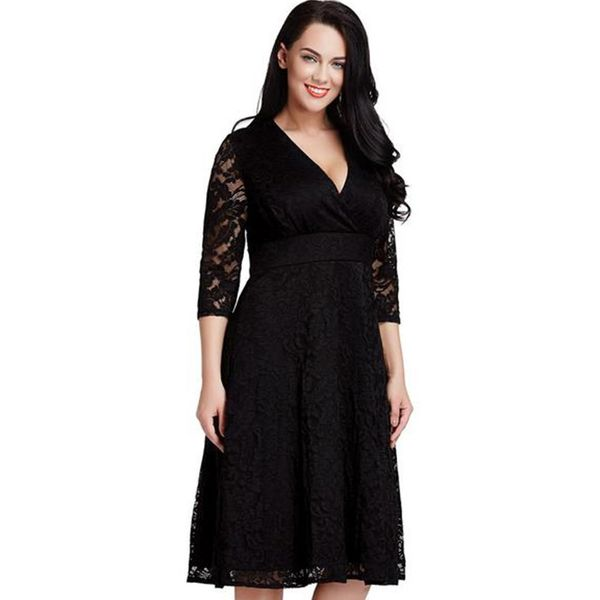 Plus Size Solid 3/4 Sleeves Knee-Length X-line Dress (1955379998) 11
