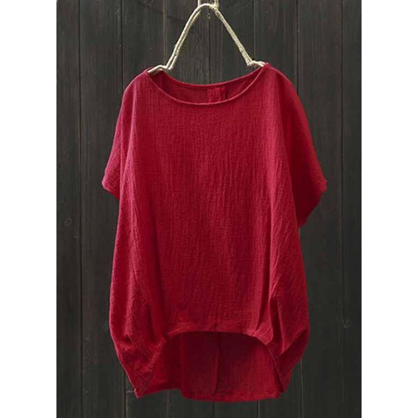 Solid Casual Round Neckline Short Sleeve Blouses (1645382436) 3