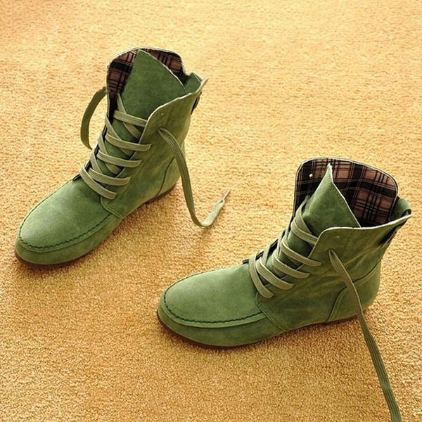 Lace-up Ankle Boots Flat Heel Shoes (1625228792, Black;khaki;military green
