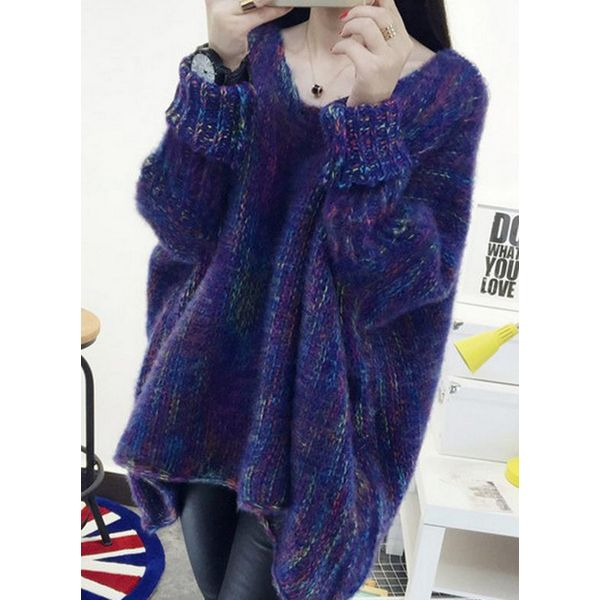 V-Neckline Color Block Loose Long Shift Sweaters (1675368780) 6