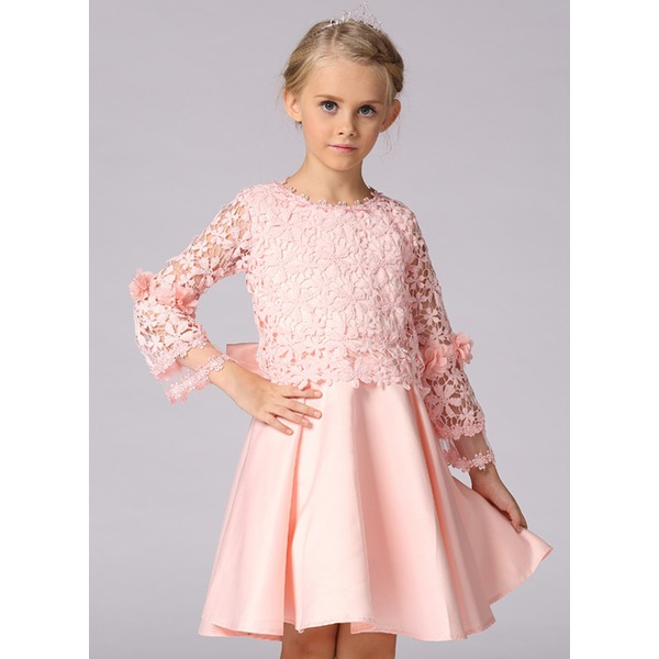 Girls' Sweet Solid Party Long Sleeve Dresses (30135333548) 10